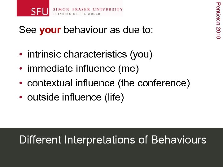 • • intrinsic characteristics (you) immediate influence (me) contextual influence (the conference) outside