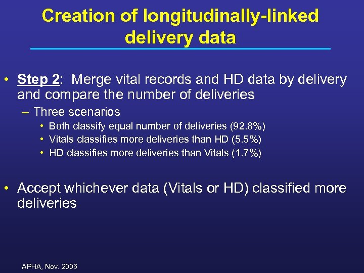 Creation of longitudinally-linked delivery data • Step 2: Merge vital records and HD data