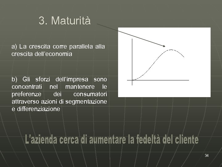3. Maturità a) La crescita corre parallela alla crescita dell'economia b) Gli sforzi dell'impresa