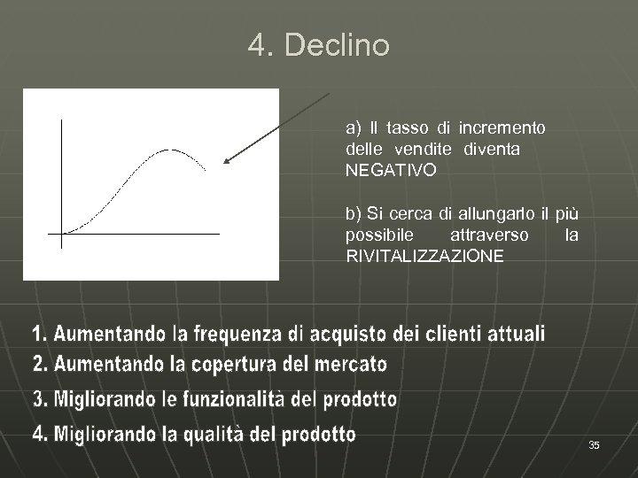 4. Declino a) Il tasso di delle vendite NEGATIVO incremento diventa b) Si cerca