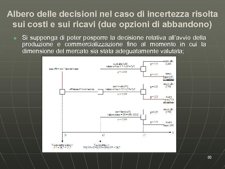 Albero delle decisioni nel caso di incertezza risolta sui costi e sui ricavi (due
