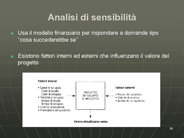 Analisi di sensibilità n n Usa il modello finanziario per rispondere a domande tipo