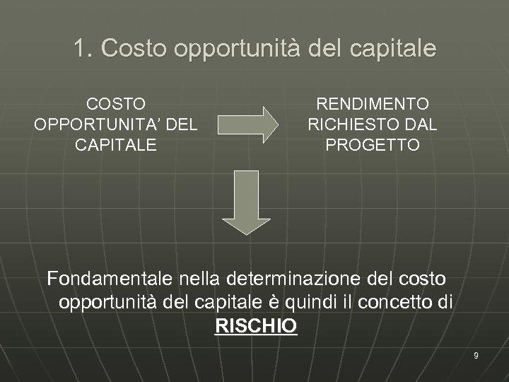 1. Costo opportunità del capitale COSTO OPPORTUNITA' DEL CAPITALE RENDIMENTO RICHIESTO DAL PROGETTO Fondamentale