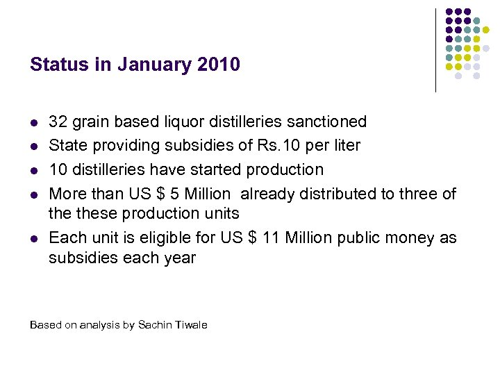 Status in January 2010 l l l 32 grain based liquor distilleries sanctioned State