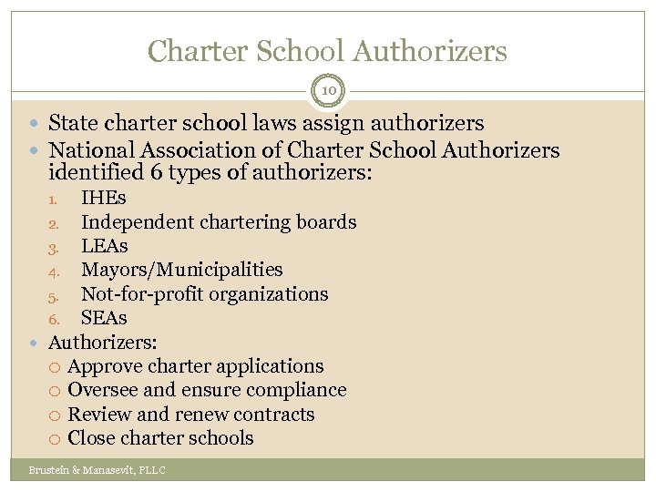 Charter School Authorizers 10 State charter school laws assign authorizers National Association of Charter