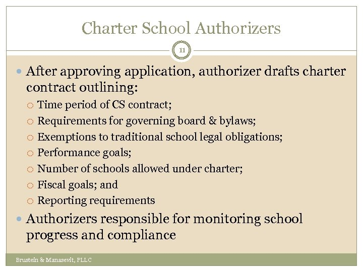 Charter School Authorizers 11 After approving application, authorizer drafts charter contract outlining: Time period