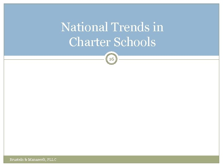 National Trends in Charter Schools 16 Brustein & Manasevit, PLLC