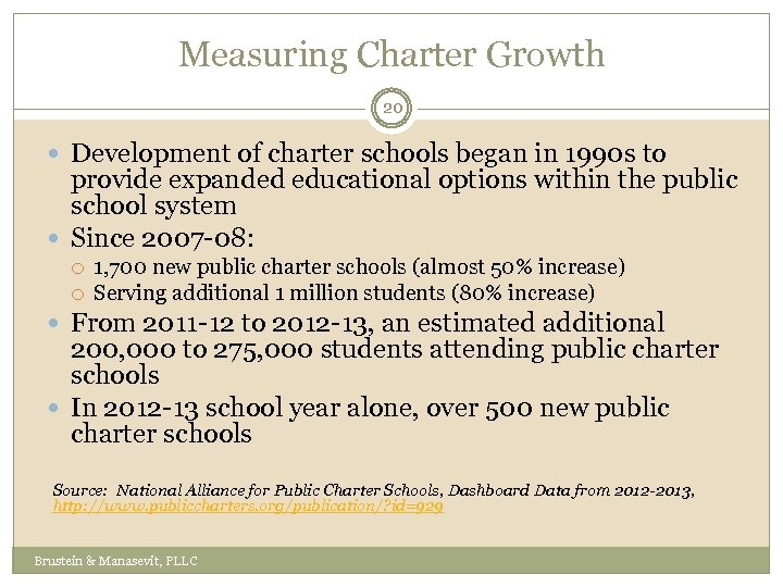 Measuring Charter Growth 20 Development of charter schools began in 1990 s to provide