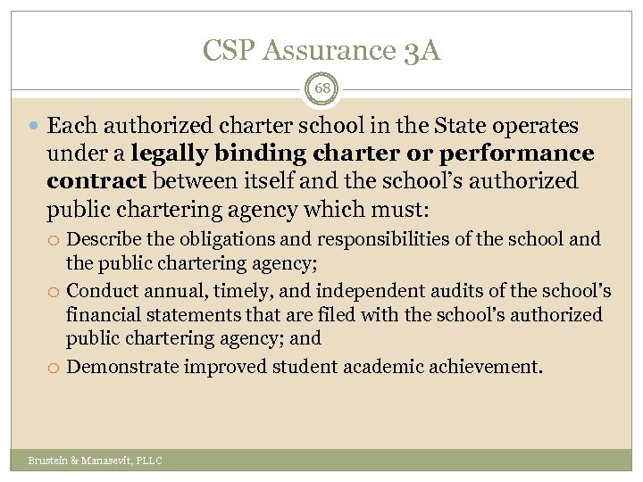 CSP Assurance 3 A 68 Each authorized charter school in the State operates under