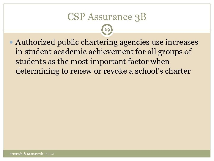 CSP Assurance 3 B 69 Authorized public chartering agencies use increases in student academic