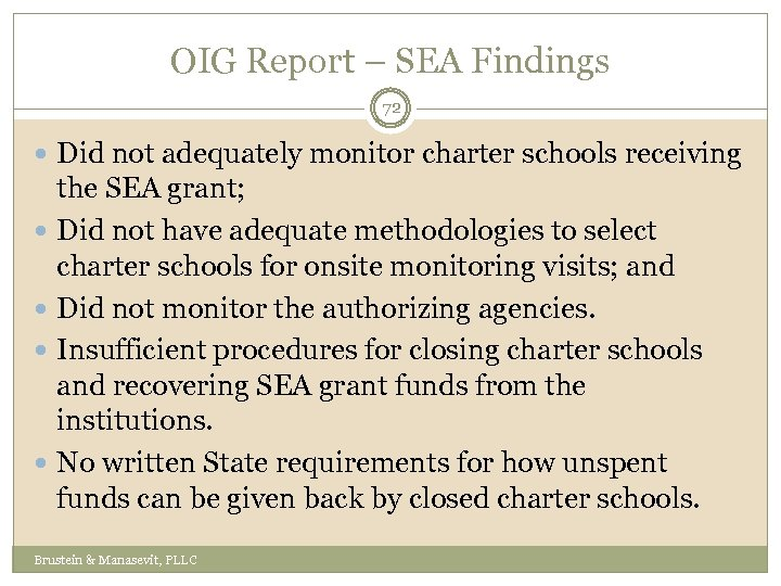OIG Report – SEA Findings 72 Did not adequately monitor charter schools receiving the