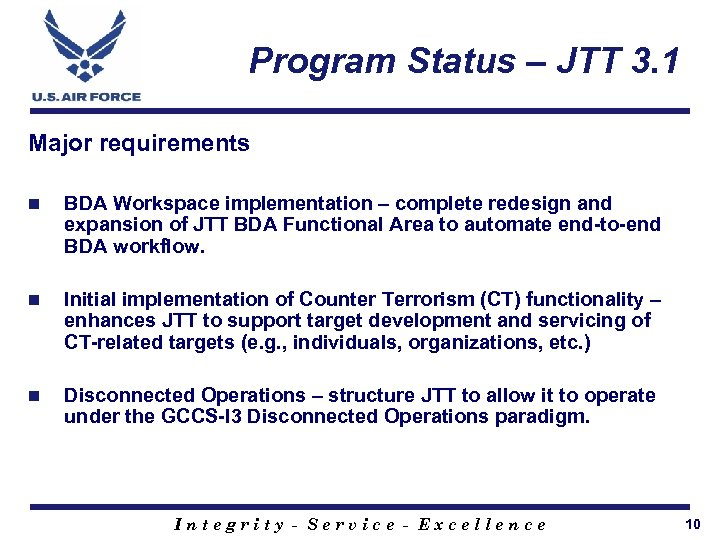 Program Status – JTT 3. 1 Major requirements n BDA Workspace implementation – complete