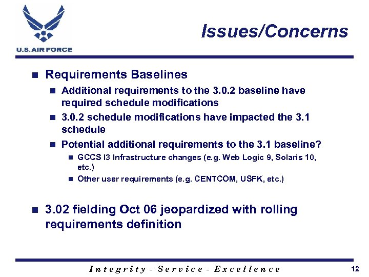 Issues/Concerns n Requirements Baselines Additional requirements to the 3. 0. 2 baseline have required