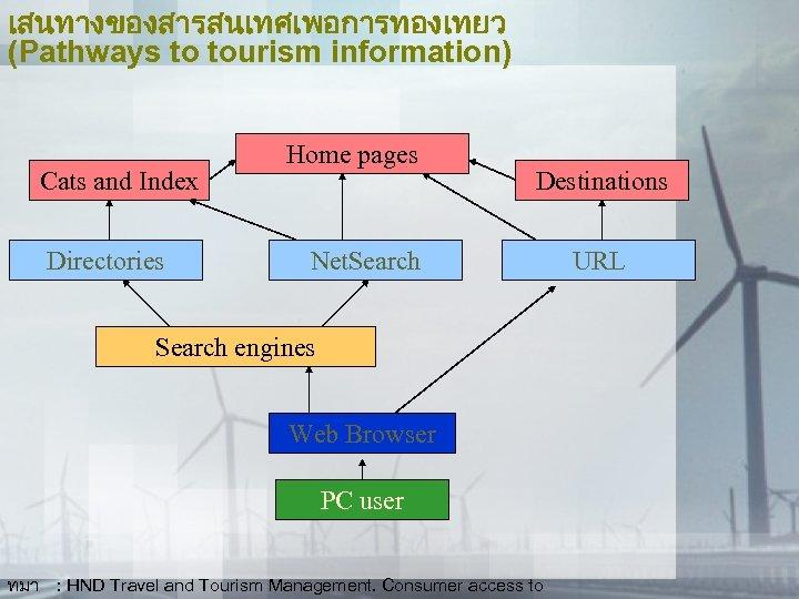 เสนทางของสารสนเทศเพอการทองเทยว (Pathways to tourism information) Cats and Index Directories Home pages Destinations Net. Search