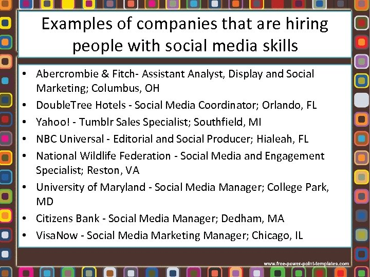 Examples of companies that are hiring people with social media skills • Abercrombie &