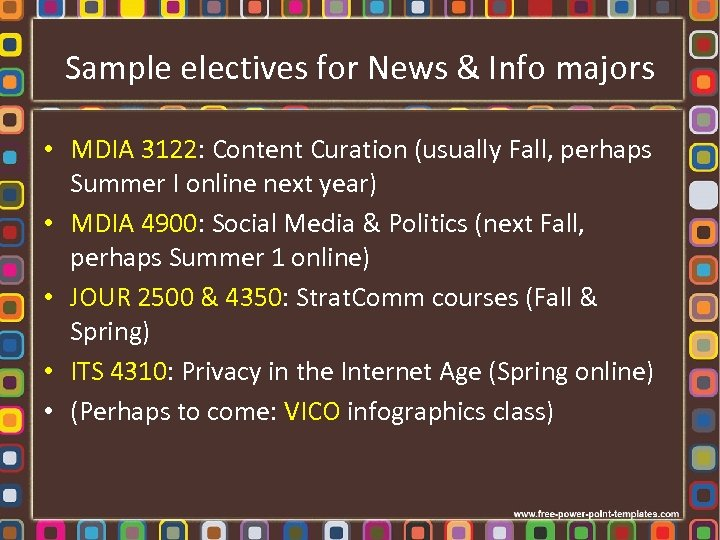 Sample electives for News & Info majors • MDIA 3122: Content Curation (usually Fall,