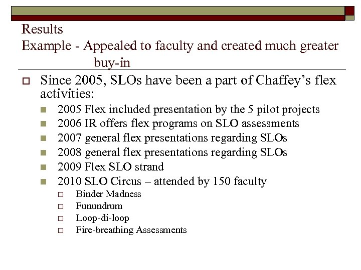 Results Example - Appealed to faculty and created much greater buy-in o Since 2005,