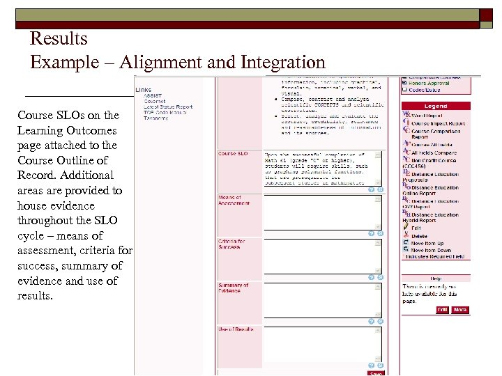 Results Example – Alignment and Integration Course SLOs on the Learning Outcomes page attached