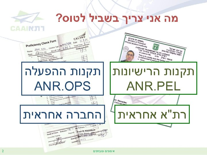 מה אני צריך בשביל לטוס? תקנות הרישיונות תקנות ההפעלה ANR. OPS ANR. PEL