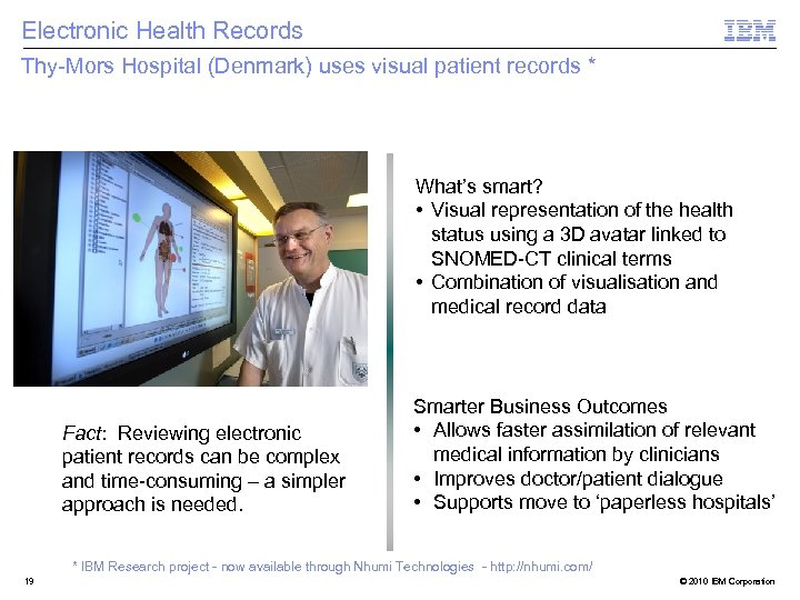 Electronic Health Records Thy-Mors Hospital (Denmark) uses visual patient records * What's smart? •