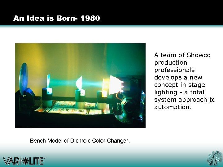 An Idea is Born- 1980 A team of Showco production professionals develops a new