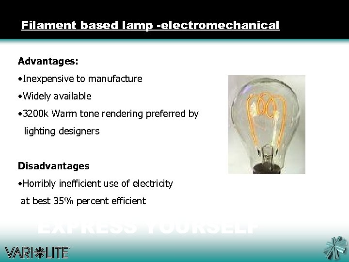 Filament based lamp -electromechanical Advantages: • Inexpensive to manufacture • Widely available • 3200