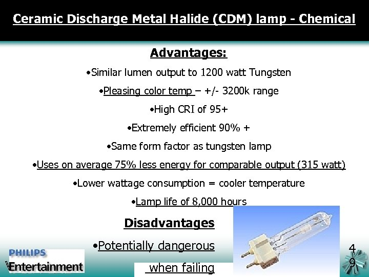 Ceramic Discharge Metal Halide (CDM) lamp - Chemical Advantages: • Similar lumen output to