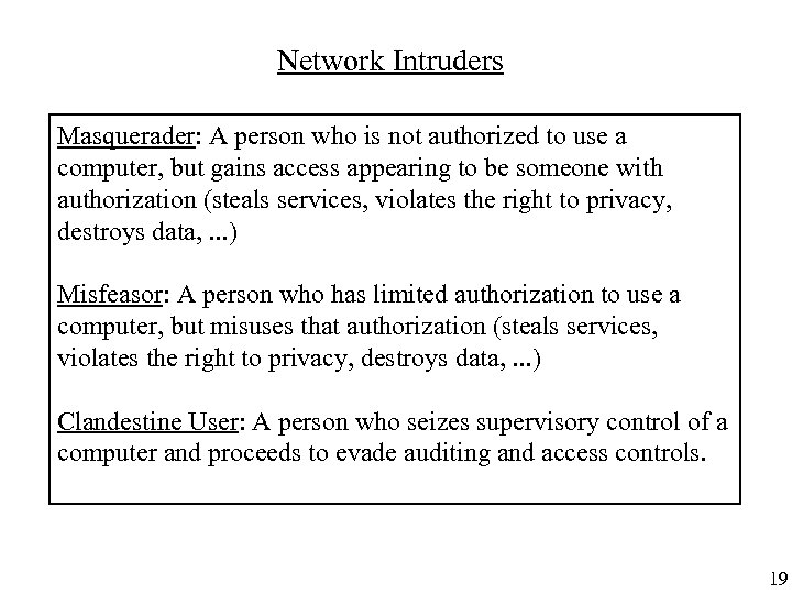 Network Intruders Masquerader: A person who is not authorized to use a computer, but