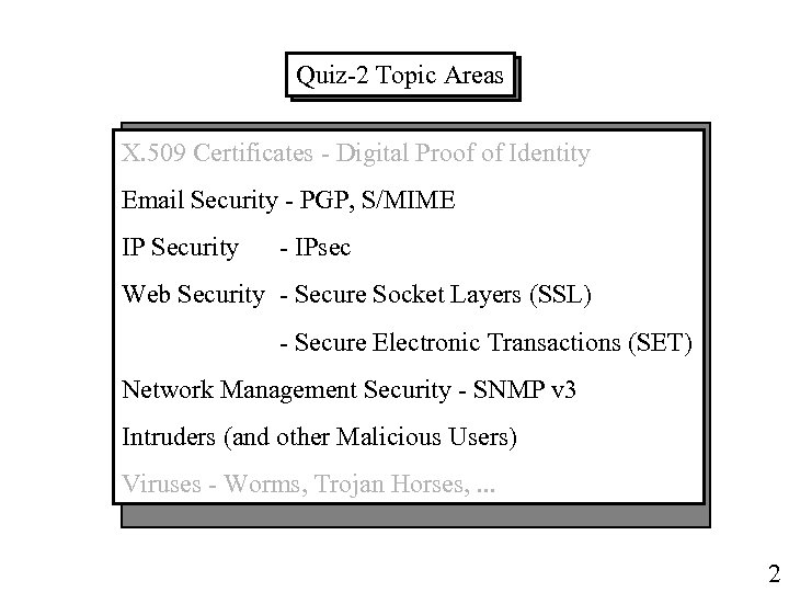 Quiz-2 Topic Areas X. 509 Certificates - Digital Proof of Identity Email Security -
