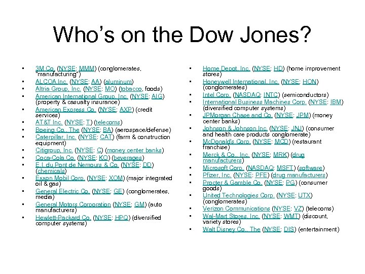 Who's on the Dow Jones? • • • • 3 M Co. (NYSE: MMM)