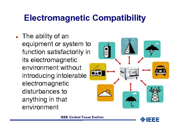 Electromagnetic Compatibility l The ability of an equipment or system to function satisfactorily in