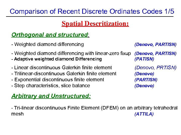 Comparison of Recent Discrete Ordinates Codes 1/5 Spatial Descritization: Orthogonal and structured: - Weighted