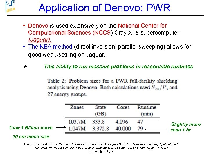 Application of Denovo: PWR • Denovo is used extensively on the National Center for