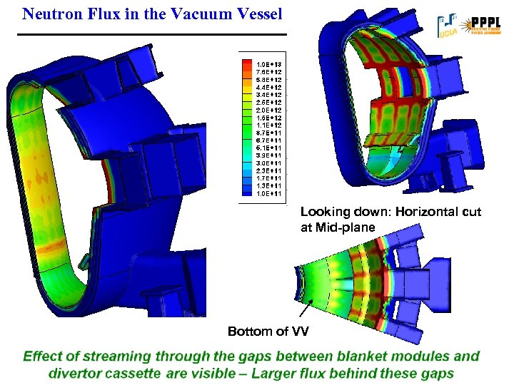 Neutron Flux in the Vacuum Vessel Looking down: Horizontal cut at Mid-plane Bottom of