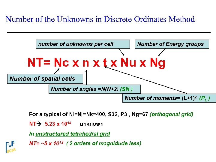 Number of the Unknowns in Discrete Ordinates Method number of unknowns per cell Number