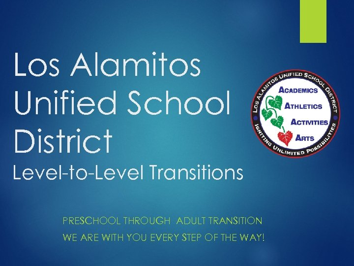 Los Alamitos Unified School District Level-to-Level Transitions PRESCHOOL THROUGH ADULT TRANSITION WE ARE WITH