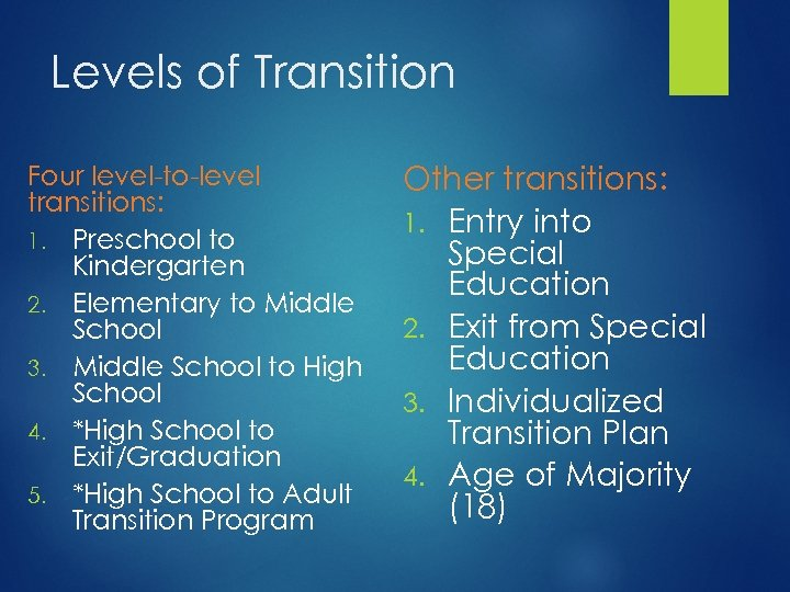 Levels of Transition Four level-to-level transitions: 1. Preschool to Kindergarten 2. Elementary to Middle