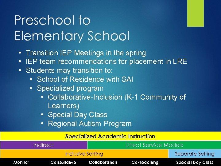 Preschool to Elementary School • Transition IEP Meetings in the spring • IEP team