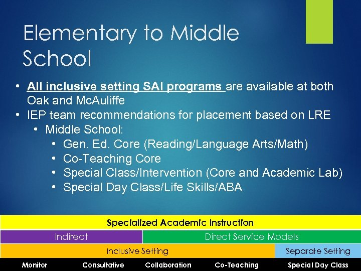 Elementary to Middle School • All inclusive setting SAI programs are available at both