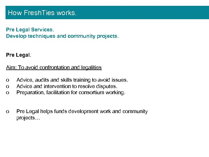 How Fresh. Ties works. Pre Legal Services. Develop techniques and community projects. Pre Legal.