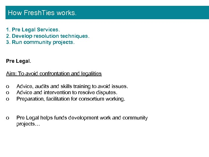 How Fresh. Ties works. 1. Pre Legal Services. 2. Develop resolution techniques. 3. Run