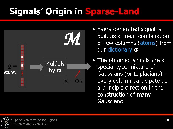 Signals' Origin in Sparse-Land M sparse Multiply by Sparse representations for Signals – Theory