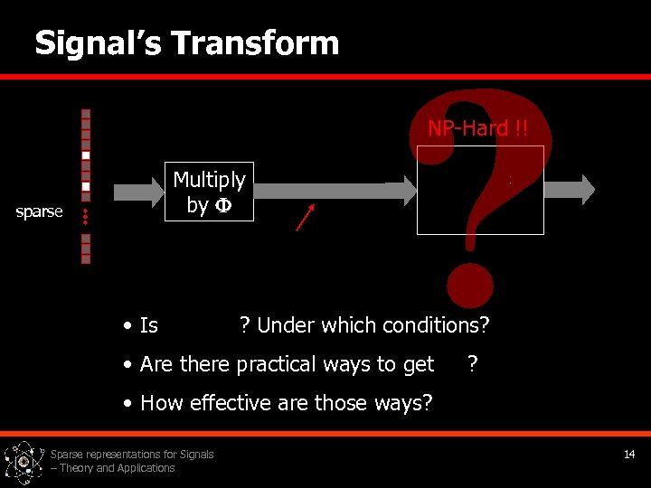 Signal's Transform NP-Hard !! Multiply by sparse • Is ? Under which conditions? •