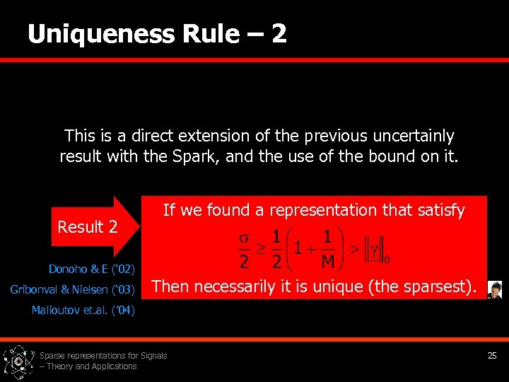 Uniqueness Rule – 2 This is a direct extension of the previous uncertainly result