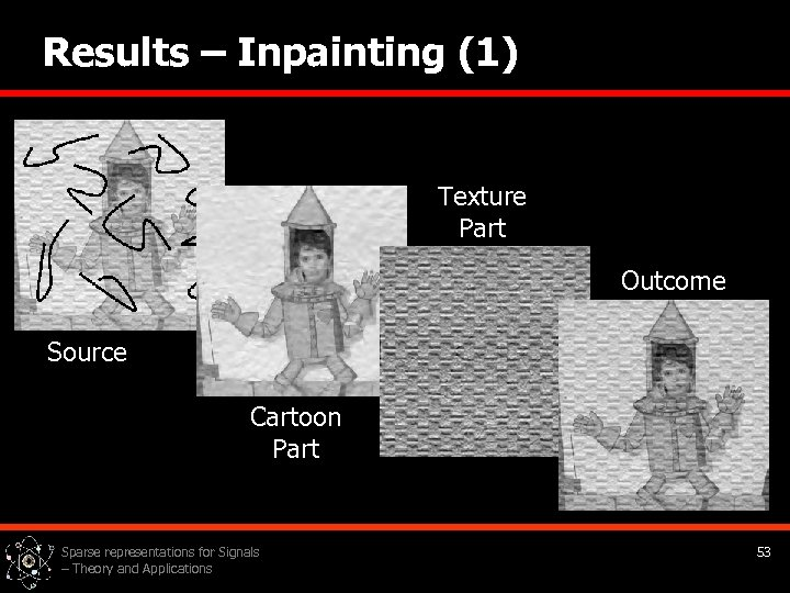 Results – Inpainting (1) Texture Part Outcome Source Cartoon Part Sparse representations for Signals