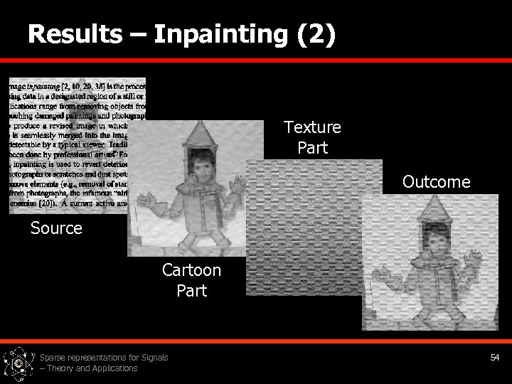 Results – Inpainting (2) Texture Part Outcome Source Cartoon Part Sparse representations for Signals
