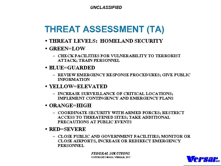 UNCLASSIFIED THREAT ASSESSMENT (TA) • THREAT LEVELS: HOMELAND SECURITY • GREEN=LOW – CHECK FACILITIES