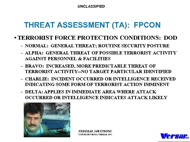 UNCLASSIFIED THREAT ASSESSMENT (TA): FPCON • TERRORIST FORCE PROTECTION CONDITIONS: DOD – NORMAL: GENERAL