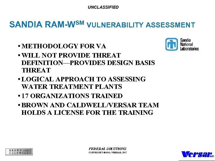 UNCLASSIFIED SANDIA RAM-WSM VULNERABILITY ASSESSMENT • METHODOLOGY FOR VA • WILL NOT PROVIDE THREAT