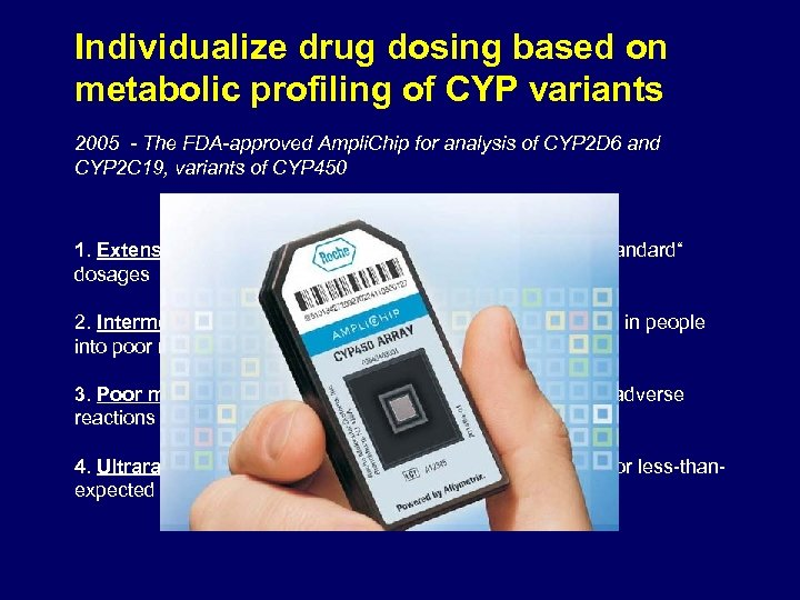Individualize drug dosing based on metabolic profiling of CYP variants 2005 - The FDA-approved